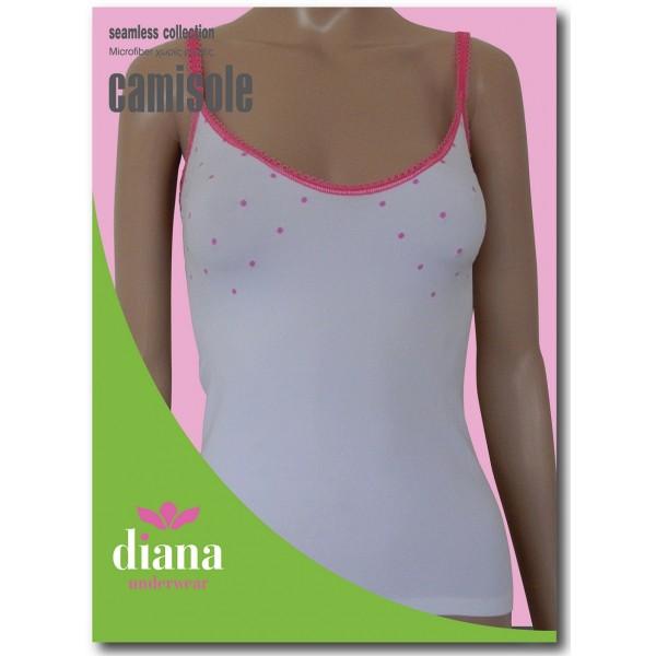30050 - Ελαστικό Camisole με Λεπτή Τιράντα και Σχέδιο Πουά