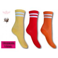 302-4 Κάλτσα σε μοντέρνα σχέδια και χρώματα-Stripes - 3 ζεύγη (one size 36-40)