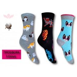 302-6 Κάλτσα σε μοντέρνα σχέδια και χρώματα - Animals - 3 ζεύγη (one size 36-40)