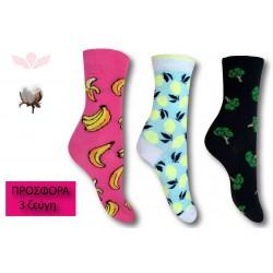 302-7 Κάλτσα σε μοντέρνα σχέδια και χρώματα - Lemon - 3 ζεύγη (one size 36-40)