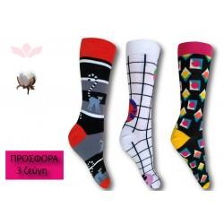 302-9 Κάλτσα σε μοντέρνα σχέδια και χρώματα - Relax - 3 ζεύγη (one size 36-40)