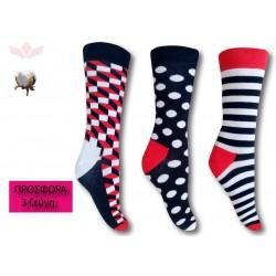 303-1 Κάλτσα σε μοντέρνα σχέδια και χρώματα-Ducks - 3 ζεύγη (one size 41-45)
