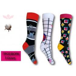 303-3 Κάλτσα σε μοντέρνα σχέδια και χρώματα-Cougar - 3 ζεύγη (one size 41-45)