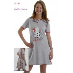 """30796 - Εφηβικό Νυχτικό με Κοντό Μανίκι """"Αγελαδίτσα"""""""