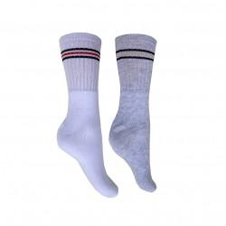 391 - Βαμβακερή Αθλητική Κάλτσα με Πετσέτα & Ρίγες