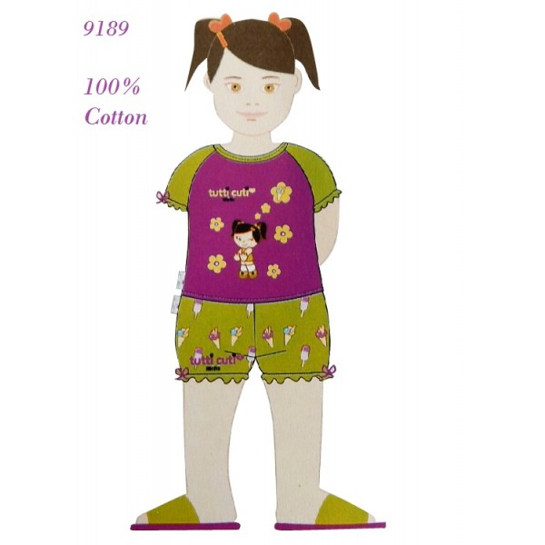"""9189 - Παιδική Πυτζάμα """"Tutti Cuti"""" με Κοντό Μανίκι & Σορτσάκι"""