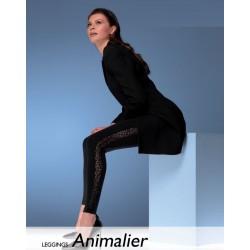 """921-31  Αδιαφανές Κολάν με Ημι-διαφανή Ρίγα  """"Animalier"""""""