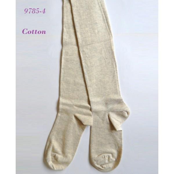 9785-4 Γυναικεία Βαμβακερή κάλτσα μέχρι το γόνατο - Μπεζ-Μελανζέ