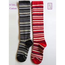 9785-6 Γυναικεία Βαμβακερή κάλτσα μέχρι το γόνατο-με ρίγα