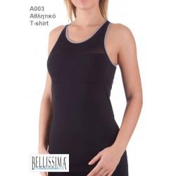 A003 - Αθλητική Διαπνέουσα Αμάνικη Μπλούζα με Διχρωμία στο Λάστιχο