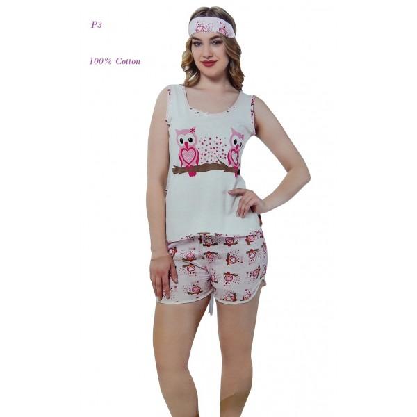 "P3 - Αμάνικο Μπλουζάκι με Σορτσάκι ""Owls"" - 100% Βαμβάκι"
